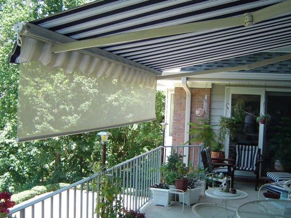 MOTORIZED PRO Retractable Awning With Weatherbraker Curtain[1]